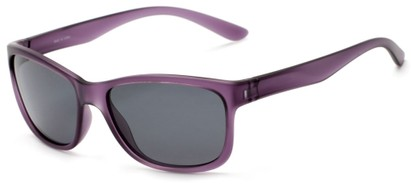 Angle of Everglade #5709 in Frosted Purple Frame with Smoke Lenses, Women's and Men's Retro Square Sunglasses