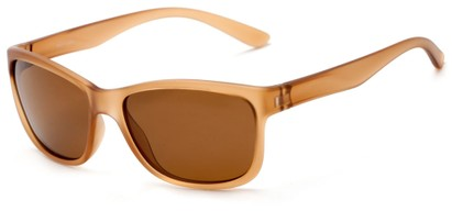 Angle of Everglade #5709 in Frosted Brown Frame with Brown Lenses, Women's and Men's Retro Square Sunglasses