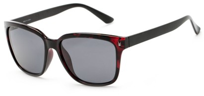 Angle of Crafter #5714 in Red Tortoise Frame/Black Temples with Smoke Lenses, Women's Retro Square Sunglasses