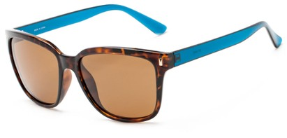Angle of Crafter #5714 in Tortoise Frame/Blue Temples with Amber Lenses, Women's Retro Square Sunglasses