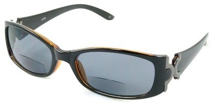 Angle of Classic #577 in Black and Brown Fade, Women's Square Reading Sunglasses