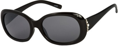 Angle of SW Rhinestone Style #4577 in Black Frame with Smoke Lens, Women's and Men's