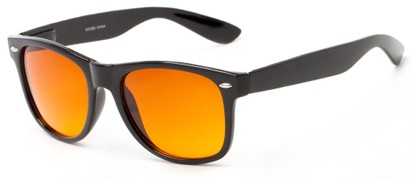 Angle of Reservoir #6003 in Black Frame with Copper Lenses, Women's and Men's Retro Square Sunglasses