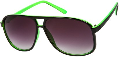 Angle of Sao Paulo #8199 in Black and Green Frame with Smoke Lenses, Men's Aviator Sunglasses