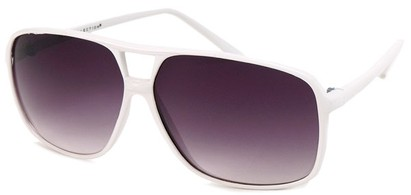 Angle of Grenada #1915 in White Frame with Grey Lenses, Women's and Men's Aviator Sunglasses