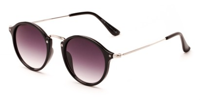 Angle of Lighthouse #6016 in Black/Silver Frame with Smoke Gradient Lenses, Women's and Men's Round Sunglasses