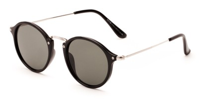Angle of Lighthouse #6016 in Black/Silver Frame with Green Lenses, Women's and Men's Round Sunglasses