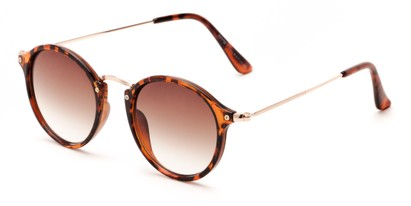 Angle of Lighthouse #6016 in Tortoise/Gold Frame with Amber Gradient Lenses, Women's and Men's Round Sunglasses
