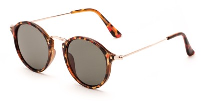 Angle of Lighthouse #6016 in Tortoise/Gold Frame with Green Lenses, Women's and Men's Round Sunglasses