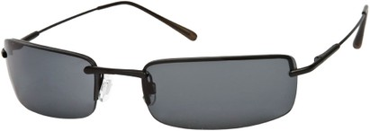 Angle of SW Rimless Style #857 in Matte Black Frame with Dark Grey Lenses, Women's and Men's