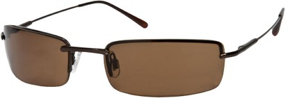 Angle of SW Rimless Style #857 in Bronze Frame with Amber Brown Lenses, Women's and Men's