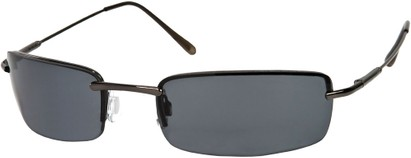 Angle of SW Rimless Style #857 in Dark Grey Frame with Dark Grey Lenses, Women's and Men's