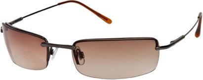 Angle of SW Rimless Style #857 in Dark Grey Frame with Amber Lenses, Women's and Men's