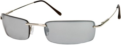 Angle of SW Rimless Style #857 in Silver Frame with Grey Lenses, Women's and Men's