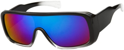 Angle of SW Mirrored Shield Style #1987 in Glossy Black/Clear Frame with Purple REVO Lenses, Women's and Men's