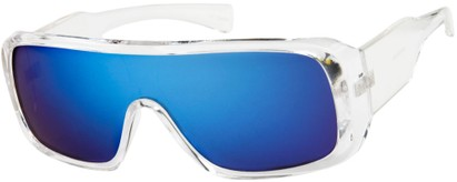 Angle of SW Mirrored Shield Style #1987 in Clear Frame with Blue REVO Lenses, Women's and Men's