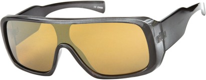 Angle of SW Mirrored Shield Style #1987 in Glossy Grey Frame with Gold REVO Lenses, Women's and Men's