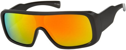 Angle of SW Mirrored Shield Style #1987 in Matte Black Frame with Orange REVO Lenses, Women's and Men's