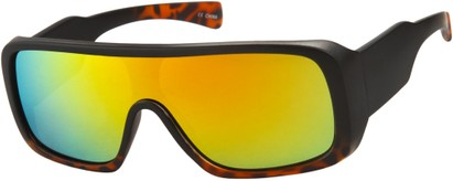 Angle of SW Mirrored Shield Style #1987 in Matte Black/Tortoise Frame with Yellow REVO Lenses, Women's and Men's