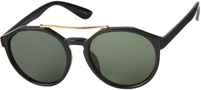 Angle of SW Round Aviator Style #6990 in Glossy Black Frame with Green Lenses, Women's and Men's