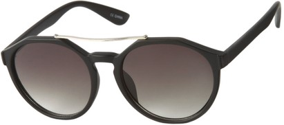 Angle of SW Round Aviator Style #6990 in Matte Black Frame with Grey Lenses, Women's and Men's