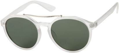 Angle of SW Round Aviator Style #6990 in Matte Clear Frame with Green Lenses, Women's and Men's