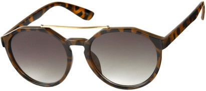 Angle of SW Round Aviator Style #6990 in Glossy Tortoise Frame with Grey Lenses, Women's and Men's