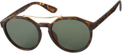 Angle of SW Round Aviator Style #6990 in Matte Tortoise Frame with Green Lenses, Women's and Men's