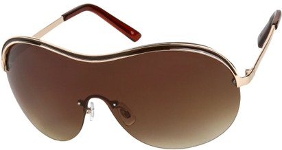 Angle of SW Shield Style #9217 in Brown/Gold Frame with Amber Lenses, Women's and Men's