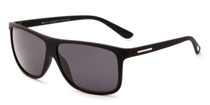 Angle of Cancun #6109 in Matte Black Frame with Grey Lenses, Men's Retro Square Sunglasses