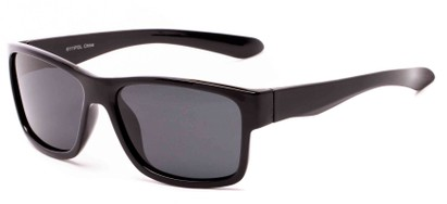 Angle of Winchester #6111 in Glossy Black Frame with Smoke Lenses, Men's Square Sunglasses