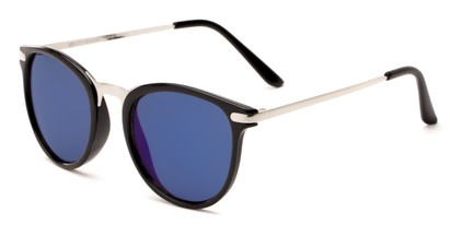 Angle of Cabo #6114 in Black/Silver Frame with Blue Mirrored Lenses, Women's and Men's Round Sunglasses