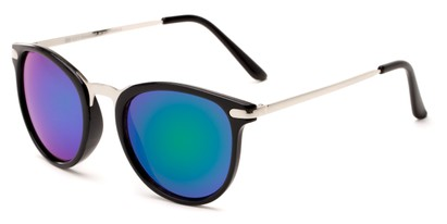 Angle of Cabo #6114 in Black/Silver Frame with Blue/Green Mirrored Lenses, Women's and Men's Round Sunglasses