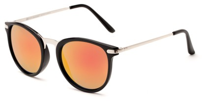 Angle of Cabo #6114 in Black/Silver Frame with Red/Orange Mirrored Lenses, Women's and Men's Round Sunglasses