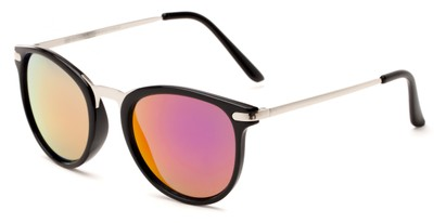 Angle of Cabo #6114 in Black/Silver Frame with Orange/Purple Mirrored Lenses, Women's and Men's Round Sunglasses