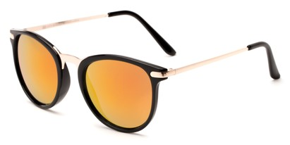 Angle of Cabo #6114 in Black/Gold Frame with Red/Orange Mirrored Lenses, Women's and Men's Round Sunglasses
