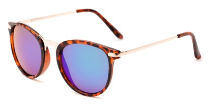 Angle of Cabo #6114 in Glossy Tortoise/Gold Frame with Blue/Green Mirrored Lenses, Women's and Men's Round Sunglasses