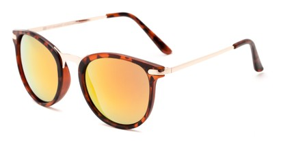 Angle of Cabo #6114 in Matte Tortoise/Gold Frame with Red/Orange Mirrored Lenses, Women's and Men's Round Sunglasses