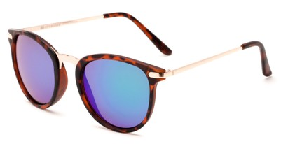 Angle of Cabo #6114 in Matte Tortoise/Gold Frame with Blue/Green Mirrored Lenses, Women's and Men's Round Sunglasses