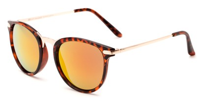 Angle of Cabo #6114 in Glossy Tortoise/Gold Frame with Red/Orange Mirrored Lenses, Women's and Men's Round Sunglasses