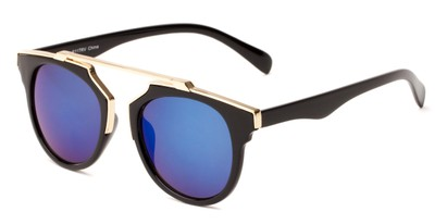 Angle of Lake Shore #6117 in Black Frame with Blue Mirrored Lenses, Women's and Men's Round Sunglasses