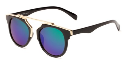 Angle of Lake Shore #6117 in Black Frame with Green/Purple Mirrored Lenses, Women's and Men's Round Sunglasses