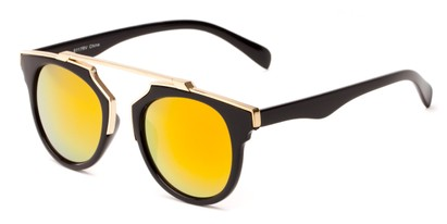 Angle of Lake Shore #6117 in Black Frame with Orange/Yellow Mirrored Lenses, Women's and Men's Round Sunglasses