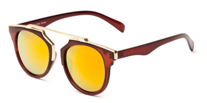 Angle of Lake Shore #6117 in Brown Frame with Orange/Yellow Mirrored Lenses, Women's and Men's Round Sunglasses