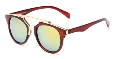 Angle of Lake Shore #6117 in Brown Frame with Yellow/Blue Mirrored Lenses, Women's and Men's Round Sunglasses