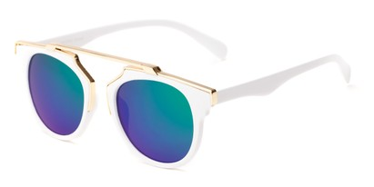 Angle of Lake Shore #6117 in White Frame with Green/Purple Mirrored Lenses, Women's and Men's Round Sunglasses