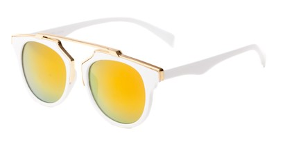 Angle of Lake Shore #6117 in White Frame with Orange/Yellow Mirrored Lenses, Women's and Men's Round Sunglasses