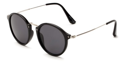 Angle of Darwin #6124 in Black/Silver Frame with Smoke Lenses, Women's and Men's Round Sunglasses