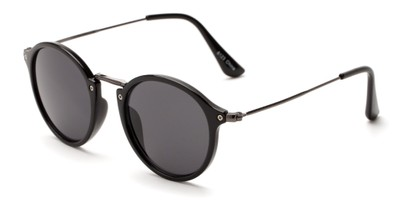 Angle of Darwin #6124 in Black/Grey Frame with Smoke Lenses, Women's and Men's Round Sunglasses