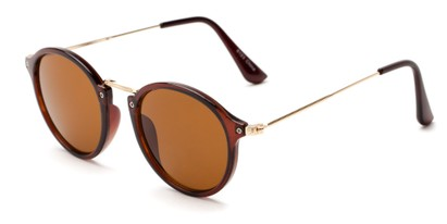 Angle of Darwin #6124 in Brown/Gold Frame with Amber Lenses, Women's and Men's Round Sunglasses